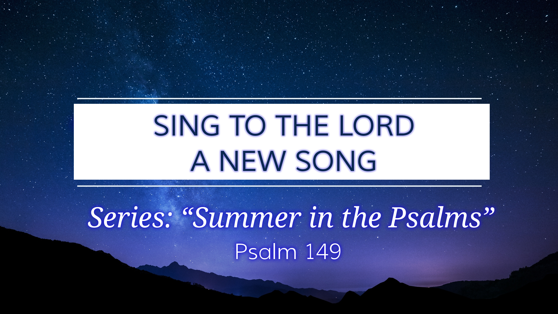 Image for the sermon Sing to the Lord a New Song