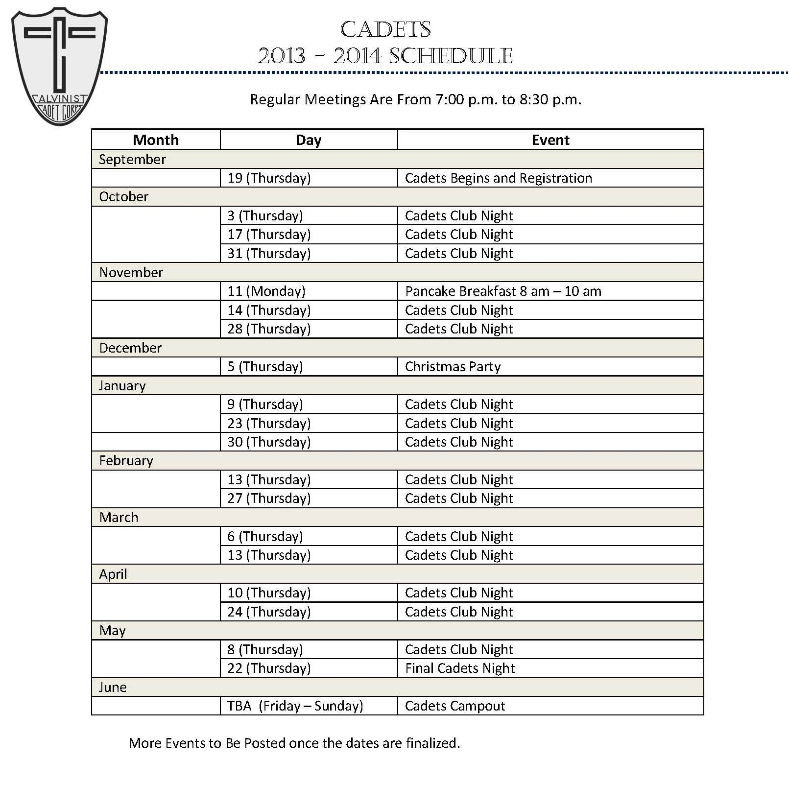 Preliminary Schedule Cadets